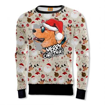 Christmas Dog Red glasses Sweatshirt