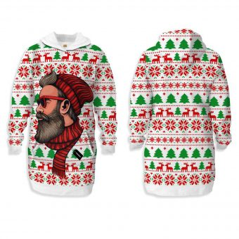 Hipster Santa Claus Hooded Dress