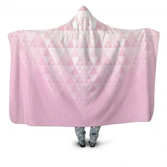 Fractal Triangle Poncho Pink Hooded Blanket