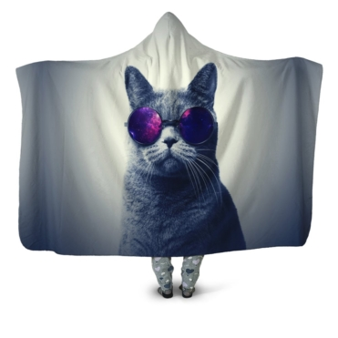 Cool Cat Galaxy Hooded Blanket