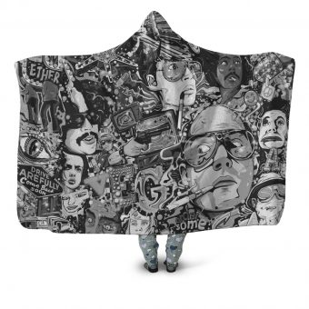 Fear and Loathing mono Hooded Blanket